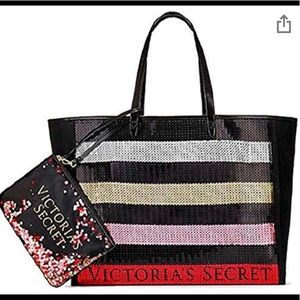 Victoria secret sequin tote with wristlet